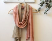 Summer organic cotton scarf, soft ombre plant colours