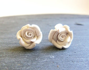 White clay rose earrings, stainless steel stud earrings, clay flowers, white roses, surgical steel bridal earrings, post, gift for woman