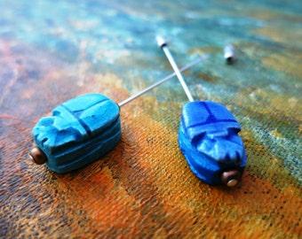 Egyptian scarab beetle jewellery stick pin, lapel pin, hijab pin or hat pin