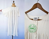 VINTAGE 1970's Zodiac deadstock indian gauze dress | Batwing sleeves cotton gauze dress | Ivory ethnic dress