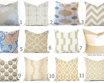 Outdoor Pillows or Indoor Cover Custom sizes include 16x16, 18x18 - Shades of Sand Brown Tan Khaki White Modern Geometric  Nautical Ocean
