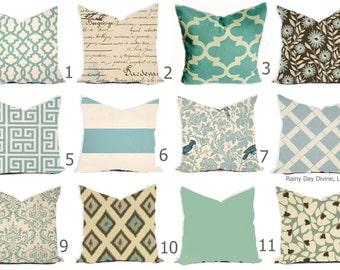 Pillows Covers - Blue Spa Mist  Aqua Turquoise Natural Linen Ikat Modern- All sizes 16x16  18x18  Throw Toss Accent Pillow