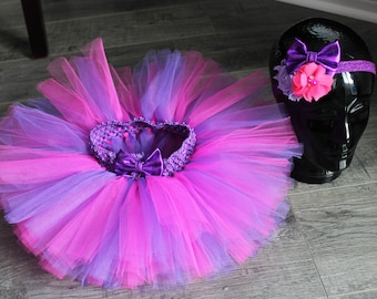 Hot pink and purple tutu and headband set