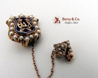 SaLe! sALe! Theta Delta Chi Fraternity Sheild Form Pin Brooch 14K Gold Diamonds Seed Pearls Enamel 1953