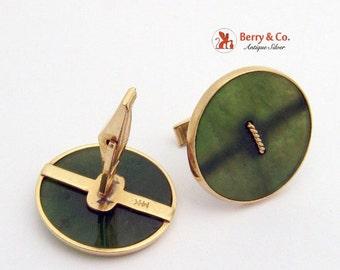 SaLe! sALe! Large Nephrite  Button Cufflinks 14 K Gold