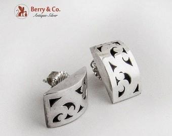 SaLe! sALe! Vintage Openwork Ornate Rectangular Earrings Sterling Silver
