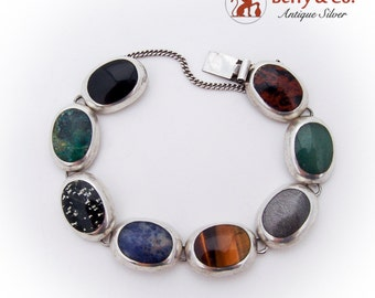 Colored Semi Precious Gemstone Oval Link Bracelet Sterling Silver