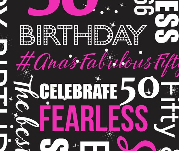 50 Birthday Party Backdrop Hashtag Party Decor Dessert Table