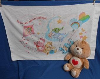 Care Bear Tenderheart Bear Plush 13 inch Kenner plus Care Bear Pillow case American Greetings Sleepy Bye set