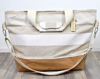 Weekender vegan leather, shoulder bag, shoulder bag, diaper bag, striped bag, bag, swimming bag