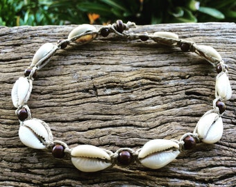 Handmade Hemp Macrame Shell Necklace with Cowrie Shells & Timber Beads, Sea Gypsy