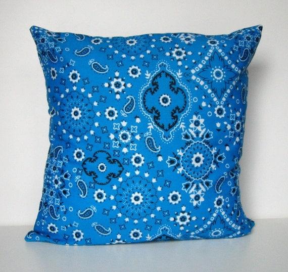 Items similar to Bandana Pillow Cover, Throw Pillow, Pillow Cover, Envelope Closure, Bandana ...