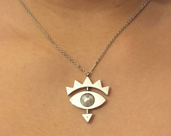 Stainless Steel Evil Eye/ Mauvais Oeil/ Mal de ojo   Rotating Necklace