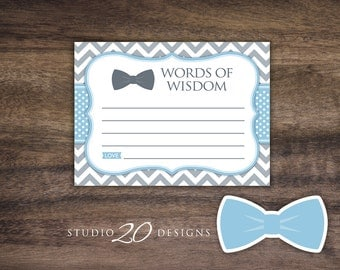 Instant Download Bow Tie Advice Cards, Boy Light Blue Grey Chevron Words of Wisdom, Little Man Baby Shower Games, Advice for Mom To Be 79D