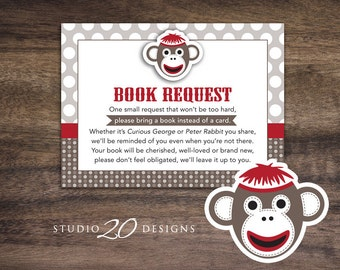 Instant Download Sock Monkey Book Request Card, Red Sock Monkey Book in Lieu of Card, Baby Boy Sock Monkey One Small Request Cards 30A