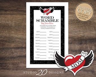 Instant Download Tattoo Word Scramble Baby Shower Game Cards, Printable Winged Heart Word Scramble, Red Black Rockabilly Baby Babble #28A