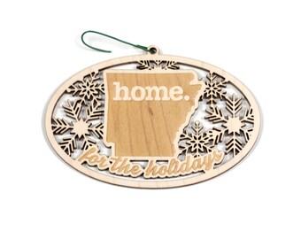 Engraved Arizona Wood Christmas Ornament