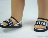 American Girl, 18 inch doll SANDALS SHOES Flipflops in Black White Chevron with Contrast Soles and Ankle and Heel Strap