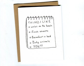 Things I like // Funny Valentines Card