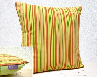 "Handmade 16""x16"" Cotton Cushion Pillow Cover in Light Green/Dark Green/Orange & Peach Stripe Design Print"