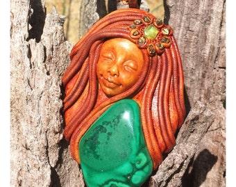 Clio Muse -- Malachite Goddess Pendant