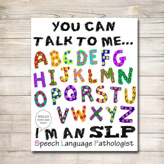 Speech Language Classroom Decorations ~ Speech therapist slp poster language pathologist