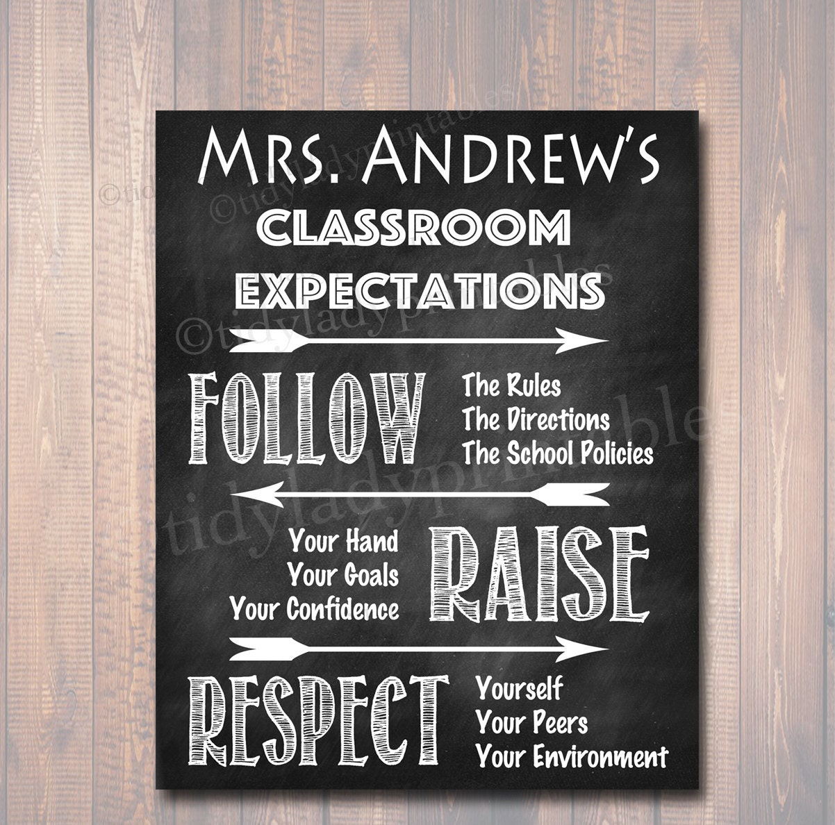 Classroom Decor Scholastic ~ Personalized classroom rules poster chalkboard printable