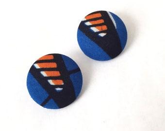 ankara earrings, african earrings, post earrings, stud earrings, Fabric button earrings button studs, african fabric button earrings