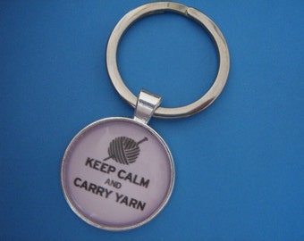 Knitting Keyring Keep Calm and Carry Yarn Gift for a Knitter