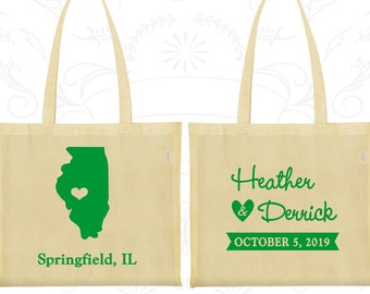Illinois Wedding Bags, Custom Canvas Bag Tote, Destination Wedding Bags, State Wedding Bags, Wedding Party Totes (112)