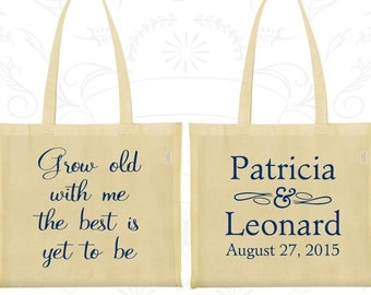 Grow Old with Me the best is yet to be, Customized Tote Bags, Romantic Wedding Bags, Personalized Tote Bags (203)