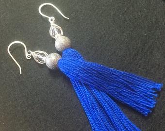 Cobalt Blue with Pewter Sparkle tasselled earrings