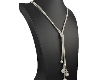 Stunning long 81 cm dangling cubic zirconia encrusted set ball bead silver plated ladies unique costume jewellery necklace.