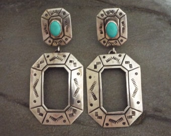 Hopi Turquoise Earrings Sterling Silver  Native American Jewelry