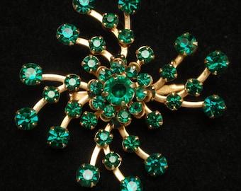 Green Rhinestones Sprial Pin Vintage