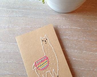 Hand Sewn Embroidered Llama Alpaca Kraft Blank Card