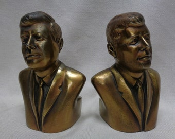 """Pair of Decorative John F. Kennedy Brass Bookends (PMC -161B) 6"""" Tall- ANTIQUE"""