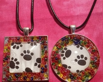 Paw Print with Glass Beading Necklace