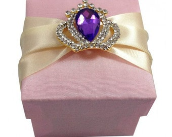 Blush Silk Favor Box With Purple Brooch Embellished, Duponi Silk, For A Special Thank You, A Set Of 20