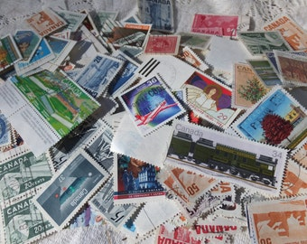 Vintage Canadian Postage Stamps: Over 1 ounce! assemblage, scrapbooking, paper crafting