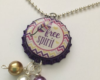 Free Spirit purple color bottle cap necklace with purple and gold Handmade jewelry