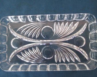 Vintage Art Deco Glass Swirl & Circle Rectangle Tray Vintage Vanity Vintage Dresser Vintage Home Decor Vintage Pin Dish