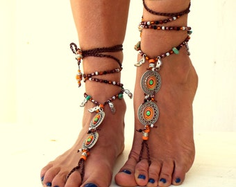 Orange Mandala, Barefoot Sandals, Barefoot Beach Jewelry,  gemstones Hippie Sandals, Foot Jewelry, Toe Thong, festival accessories, yoga