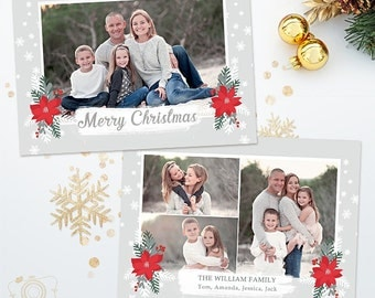 Holiday Christmas Card Template for Photographers - 5x7 Photo Card 037 - C316, INSTANT DOWNLOAD