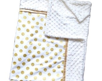 Gold polka dot blanket, gold satin trim and white minky dot