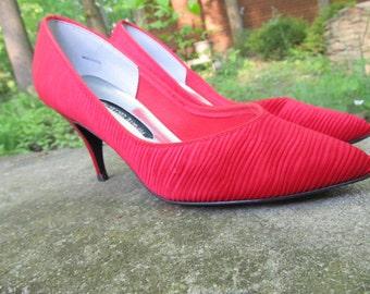 Red Silk Women Shoes
