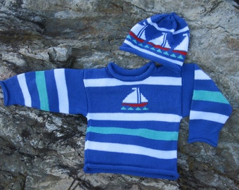 Sailboat Sweater and Hat (set), Baby Sweater, Nautical Sweater, Baby Shower Gift, Nautical Baby Shower