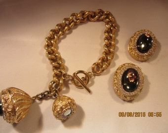 Nettie Rosenstein Charm Bracelet and Clip Earrings