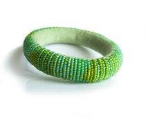 Fresh Green Beaded Bangle - Lightweight and Comfortable Roll Felt Bracelet for Everyday Wear