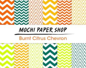 Orange & Green Chevron Printable Paper Download, Zig Zag Craft Paper, Orange Chevron Background, Chevron Invitation Art, Zig Zag PNG Files